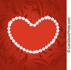 心, 作られた, スペース, 葉書, パール, バレンタイン, 日, テキスト, 花, コピー, あなたの