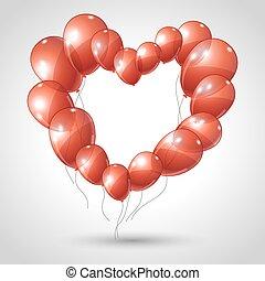 心, 作られた, バレンタイン, ベクトル, 背景, balloons.