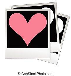 心, 作られた, 写真, 写真フレーム, 形, ベクトル, 挿入, あなたの