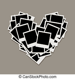 心, 作られた, 写真, 写真フレーム, 形, 挿入, あなたの