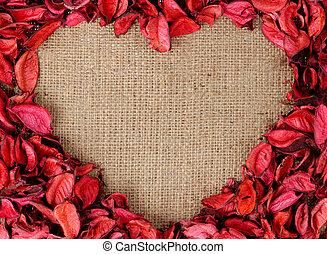 心, 作られた, 形づくられた, フレーム, 花弁, 赤