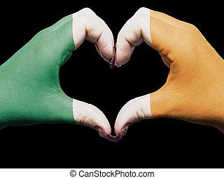 心, 作られた, 愛, 有色人種, シンボル, 旗, アイルランド, 手, 提示, ジェスチャー
