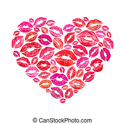 心, 作られた, 接吻, 形, 印刷, カラフルである