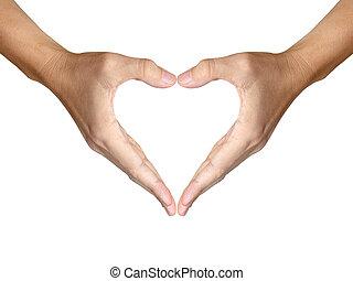 心, 作りなさい, 2, 形, 背景, 手, 白