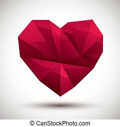 心, 使用, 作られた, アイコン, 現代, 赤, 幾何学的, 3d, 最も良く, スタイル