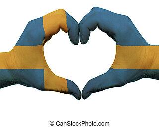 心, 做, 上色, 瑞典, 愛, 顯示, 被隔离, 旗, 背景, 手, 白色, 符號, 姿態