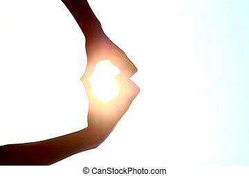 心, 做, 形状, 手