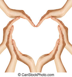 心, 做, 形狀, 手
