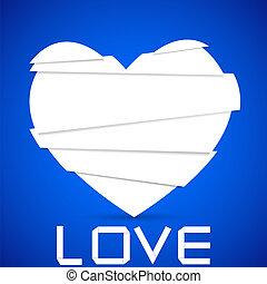 心, 傷口, blue., 選擇, 紙, 背景。, 矢量, 最好