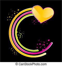 心, 光沢がある, 黄色