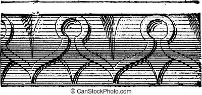 心, 光線, 型, ∥あるいは∥, デザイン, moldings, ornemental, 彫刻が施された, engraving.