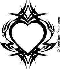 心, 入れ墨, 型, 形, デザイン, engraving.