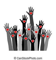 心, 別, 概念, 調子, 問題, palms., 手, 慈善, イラスト, チームワーク, ベクトル, レース, 皮膚, インターナショナル, 人間性, ボランティア, 友情, 株