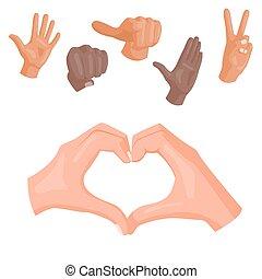 心, 別, illustration., 人々, コミュニケーション, シンボル, ジェスチャー, ベクトル, 人間の術中, メッセージ, deaf-mute, 腕