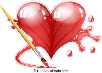 心, 刷子, 描述, 绘画, 矢量