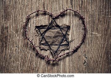 心, 刺电线, 犹太, 形成, 徽章