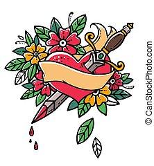 心, 刺穿, 由于, dagger., 心, 由于, 帶子, 以及, flowers., 心, bleeding., retro, tattoo., 老, 學校, retro, illustration.