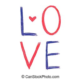 心, 単語, 色, 抽象的, ベクトル, ''love''