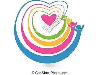 心, 友人, 愛, 幸せ, ロゴ