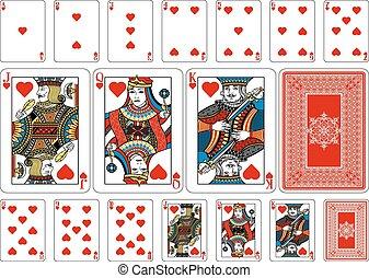 心, 反面, 玩, 大小, 啤牌, 卡片, 加上