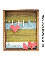 心, 古い, clothesline., バックグラウンド。, 木, ペーパー, 掛かること