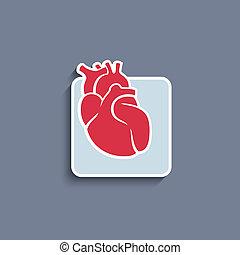 心, 器官, paper-cut, アイコン, ベクトル, 人間