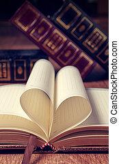 心, 図書館, 形, 本, 背景, ページ