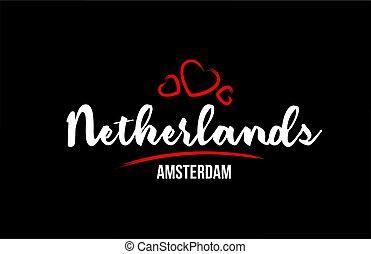 心, 国, 黒い赤, 背景, ∥そ∥, netherlands, アムステルダム, 愛, 資本