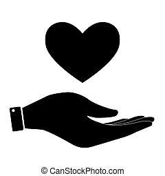 心, 图标, 手