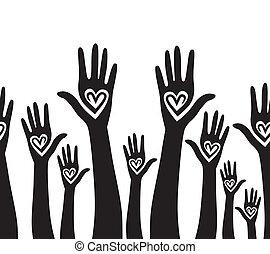 心, 團結, 相象, 人們, seamless, 手, 背景。
