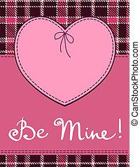 心, 在, 縫, 紡織品, style., 矢量, 粉紅色, 心, 紡織品, 標簽, 由于, 'be, mine', 手, 字母