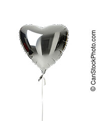 心, 大きい,  balloon, 隔離された, 金属, 単一,  birthday, 銀