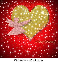 心, 天使, 挨拶, メリークリスマス, カード