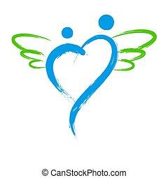 心, 天使, 符號, 被隔离, 形狀, 矢量, 背景, 白色
