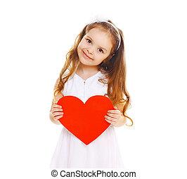 心, 女の子, 大きい, ペーパー, 背景, 子供, 白, 微笑, 赤, 幸せ