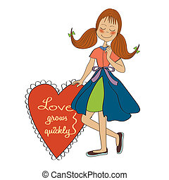 心, 女の子, 愛, 保有物