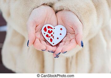 心, 女の子, 手