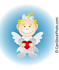 心, 女孩, 天使, 情人節