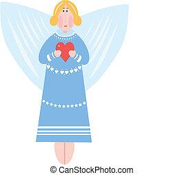心, 女孩, 雲, 天使