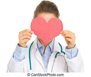 心, 女性の医者, 医学, 顔, ペーパー, 保有物, 前部