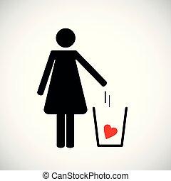 心, 妇女, pictogram, 垃圾, 投掷, 图标