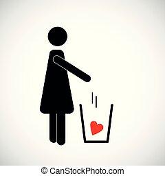 心, 妇女, pictogram, 垃圾, 投掷, 红, 图标