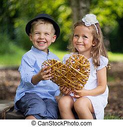 心, 子供, 枝編み細工, 2, 笑い, 保有物