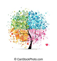 心, 季节, -, 夏天, 你, 树, 四, 秋季, 艺术, winter., 春天, 做, 设计