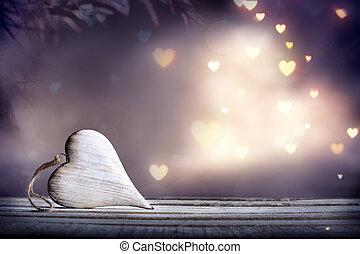 心, 孤独, ぼろぼろ, 木製である, 材料, -, ライト