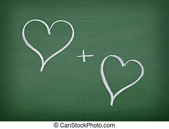 心, 学校, 愛, 黒板