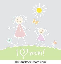 心, 孩子, 母親` s, drawing., 矢量, 天, 愉快