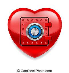心, 安全である, 光沢がある, 赤