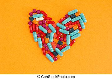 心, 安排, 形狀, 背景, 橙, 藥丸
