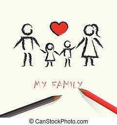 心, 家族, 子供, 図画, 赤, 幸せ
